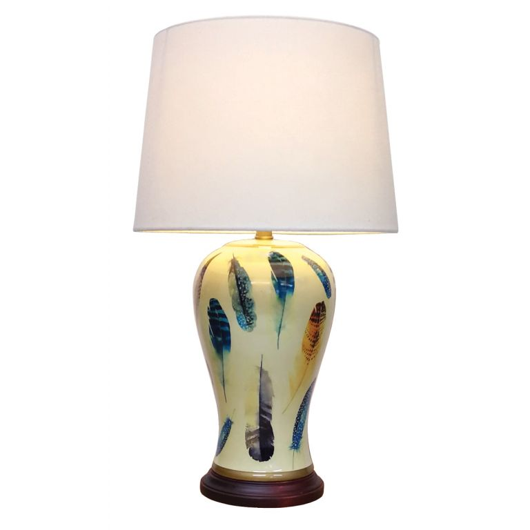 Yellow Feather Lamp