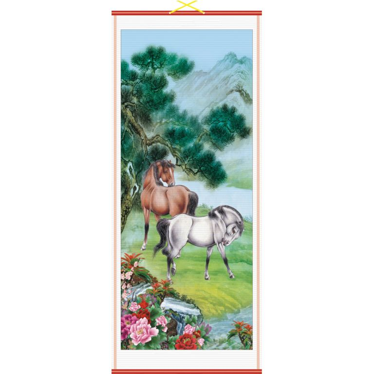 Horses in Meadow Scroll