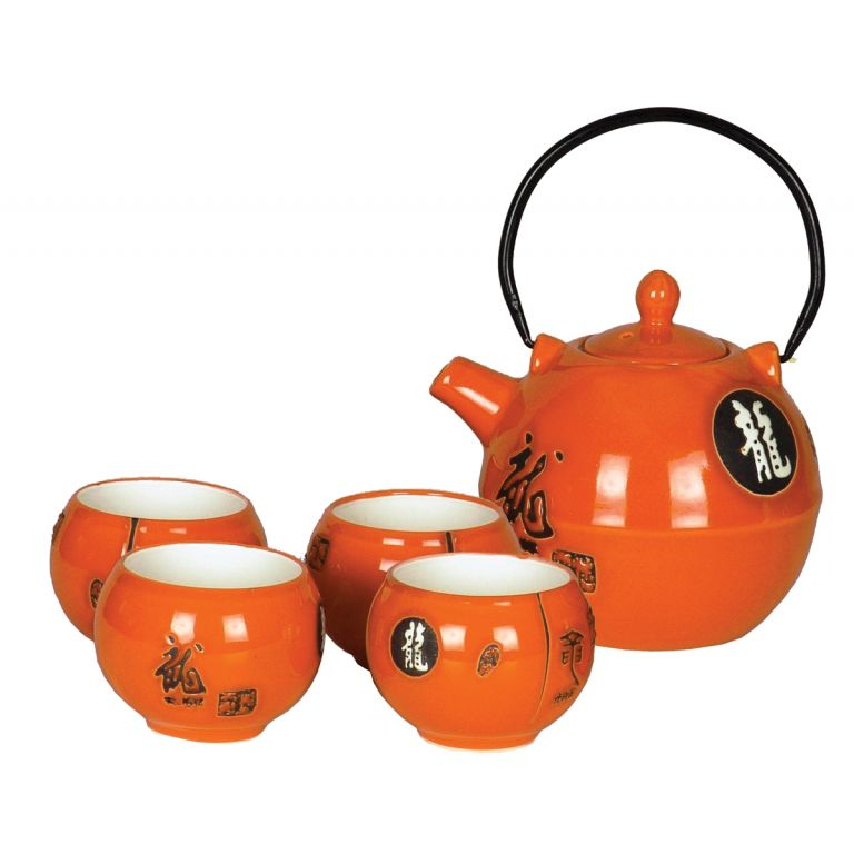 Orange Dragon Teaset