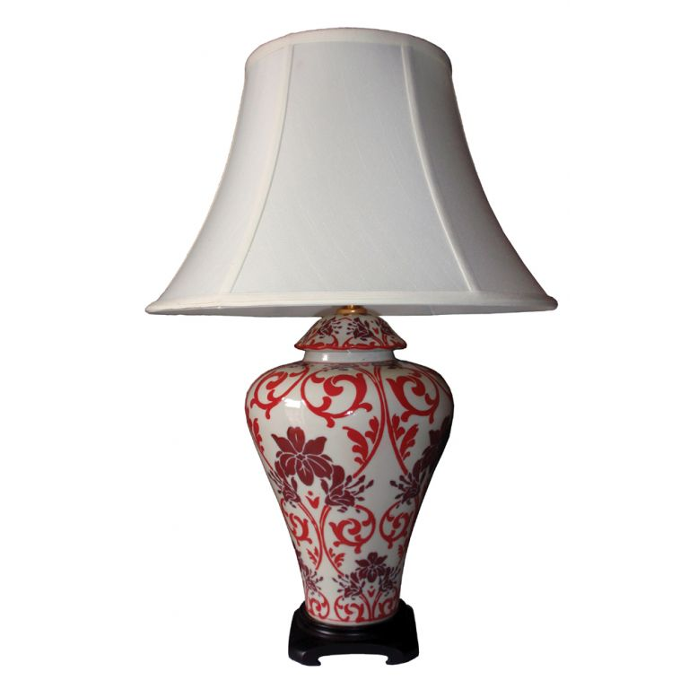 Red Floral Lamp