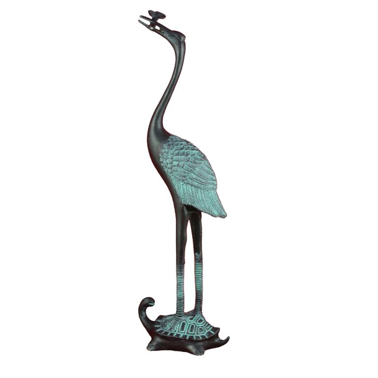 Large Bronze Crane and Turtle