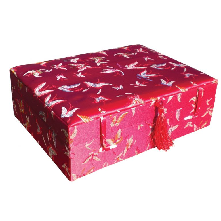 Red Butterfly Brocade Box