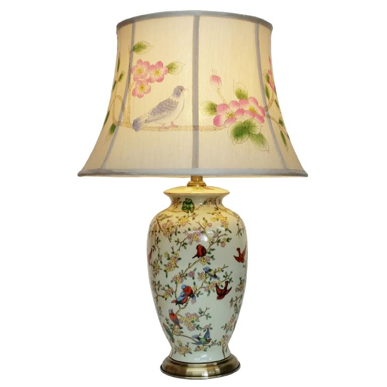 Tall Birds & Blossom Vase Lamp